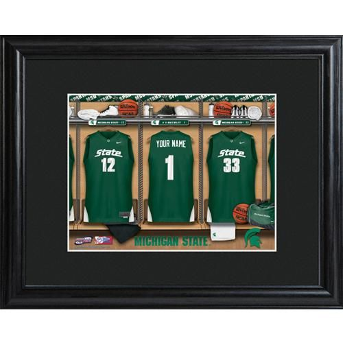 This personalized NCAA hoops locker room print, which sports his name on the center jersey and the school's name on the two outside jerseys, is the perfect accessory for his man cave or office.