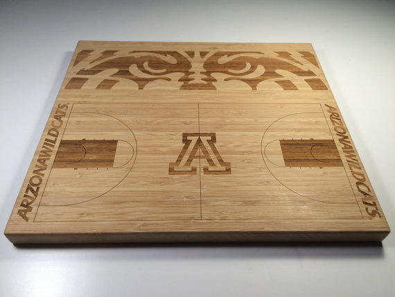 This handmade bamboo cutting board engraved the University of Arizona basketball court and Wildcat eyes, makes a great gift for Arizona fans.