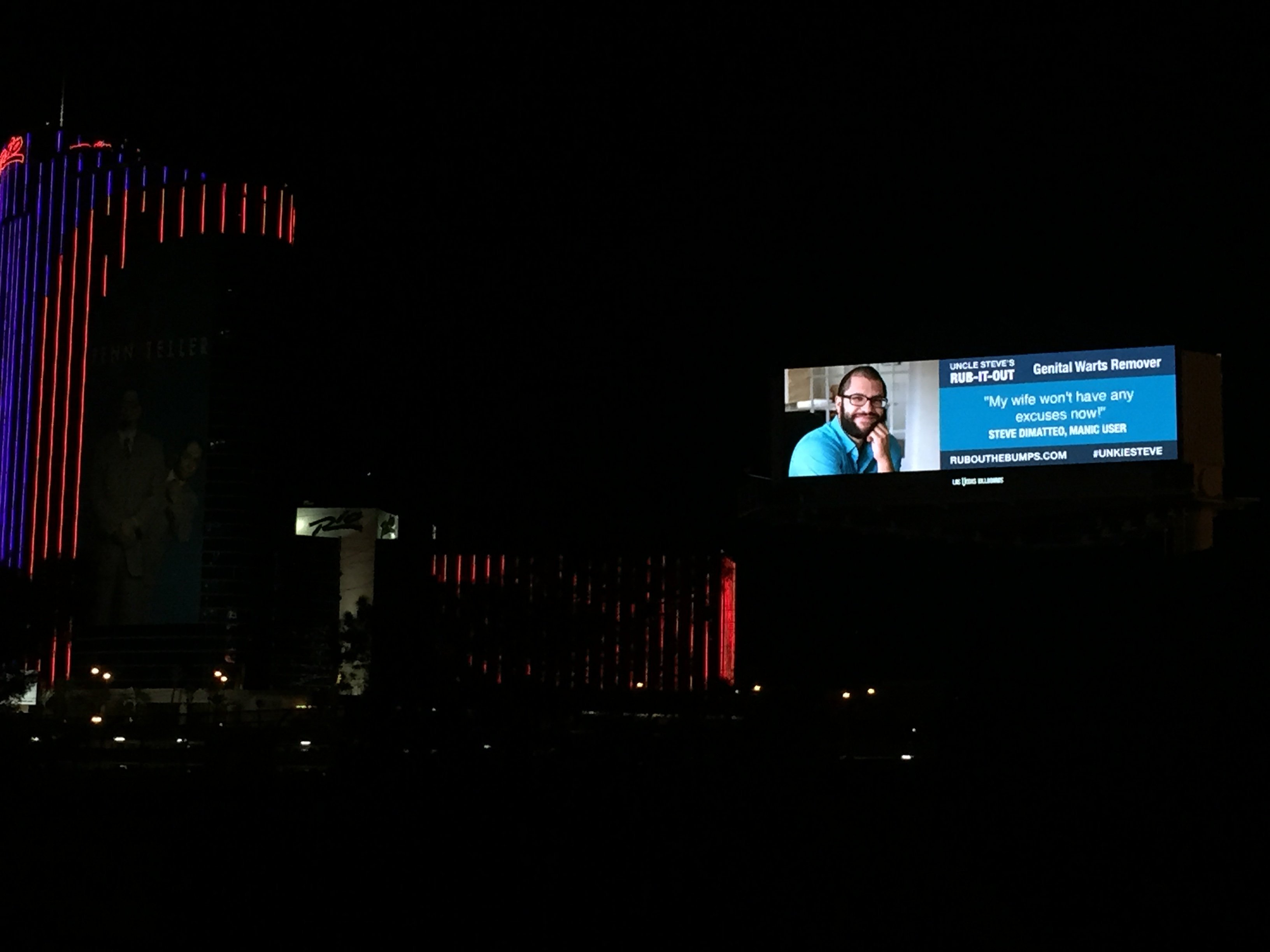 A Las Vegas billboard was rented out for a bachelor party that featured the groom promoting genital wart remover